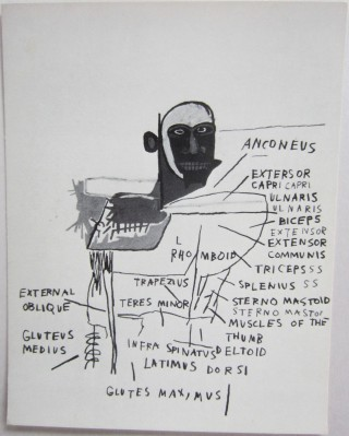 "Promotional card from Annina Nosei gallery announcing the 1982 ""Anatomy"" portfolio of Basquiat's..."