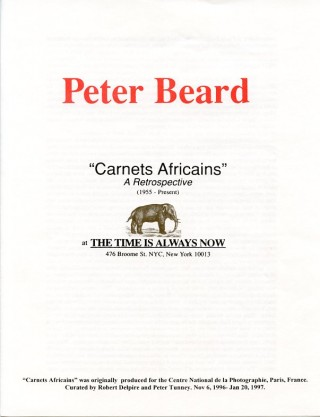 "Announcement booklet for Beard's ""Carnets Africains"" retrospective show at The Time is Always Now..."