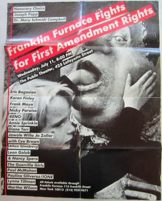 "Poster designed by Kruger for the 1990 event ""Franklin Furnace Fights for First Amendment Rights""..."