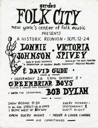 Handbill announcing a series of 1961 concerts at Gerdes Folk City in Greenwich Village, one of...