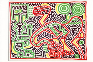 """Season's Greetings"" card from the Tony Shafrazi Gallery, 1984 featuring a work by Keith Haring...."