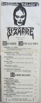 Menu from Cafe Bizarre in Greenwich Village. Rick ALLMAN