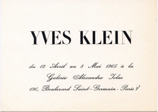 Invitation card for Klein's 1965 show at Galerie Alexandre Iolas in Paris. Yves KLEIN