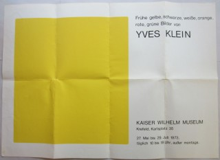 Silkscreen poster for Klein's 1973 exhibition at the Kaiser Wilhelm Museum in Krefeld, Germany....