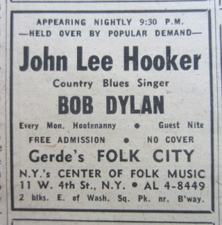 The Village Voice, April 13, 1961 featuring an ad for Bob Dylan's very first professional gig...