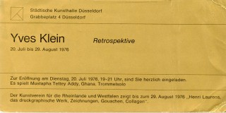 Invitation card for Klein's 1976 retrospective exhibition at the Stadtische Kunsthalle in...