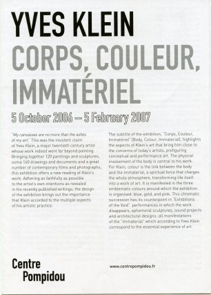 "Multi-folding sheet printed on both sides for Klein's 2007 ""Corps, Couleur, Immateriel""..."