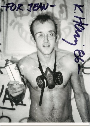 Postcard signed by Keith Haring printing Patrick McMullan's iconic photo portrait of him. Keith...