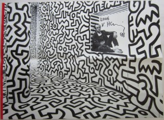 Double-sided folding promotional poster designed by Keith Haring for the Pop Shop and signed by...