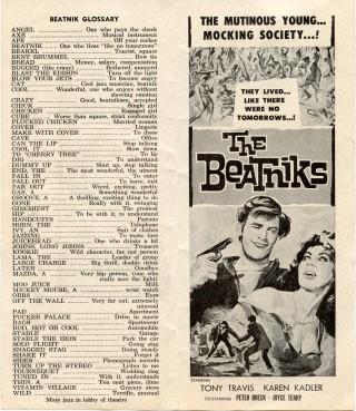 """Folding announcement for a showing of the exploitation film """"The Beatniks""""."""