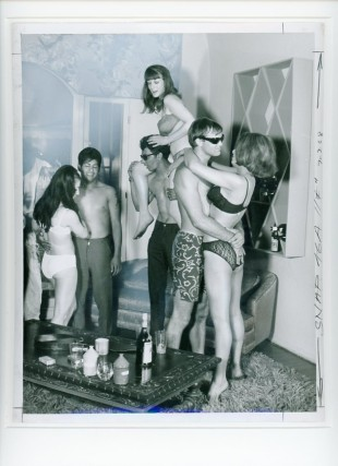 Original camera-ready photo collage of a staged beatnik party with scantily-clad revelers. BEATNIKS