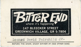 Dual business card from The Bitter End and The Tin Angel restaurant in Greenwich Village. Bob...