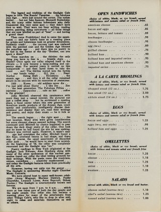 Menu from the Gaslight Cafe in Greenwich Village.