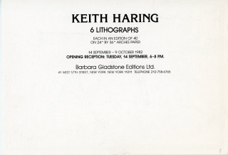"""Promotional card from Barbara Gladstone gallery announcing publication and opening reception for Haring's """"6 Lithographs""""."""