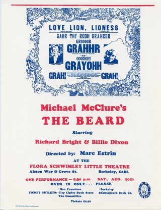 Handbill announcing an early performance of The Beard at the Flora Schwimley Little Theatre in...