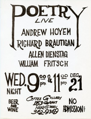 Handbill announcing a 1960 reading by Andrew Hoyem and Richard Brautigan at the Coffee Gallery in San Francisco's North Beach district. Richard BRAUTIGAN.