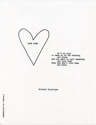 Love Poem. Richard BRAUTIGAN.