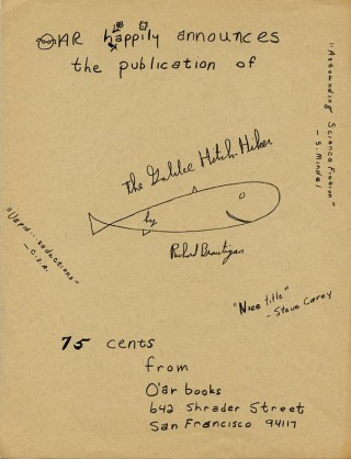 Handbill issued by Oar Books announcing publication of their reprint of The Galilee Hitch-Hiker...