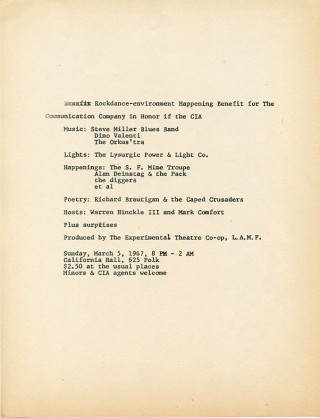 Handbill announcing a ''Rockdance-environment Happening Benefit for the Communication Company in...