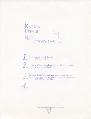 Karma Repair Kit: Items 1-4. Richard BRAUTIGAN
